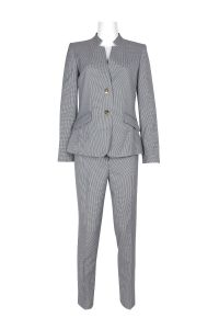 Tahari ASL High Neck 2 Button Long Sleeve Polyester Pants Suit Two Piece Set