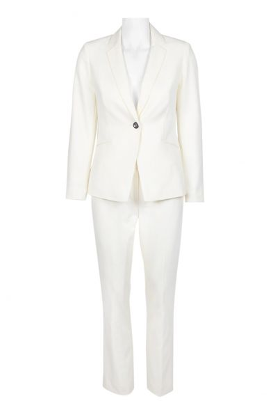 Tahari ASL Notched Collar Long Sleeve One Button Solid Crepe Pants Suit (Petite)