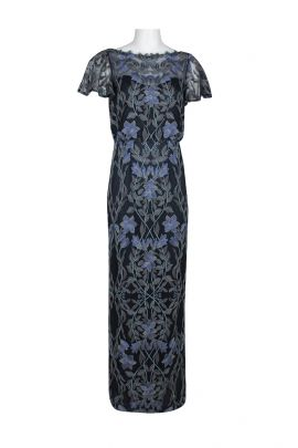 JS Collections Boat Neck Short Sleeve Blouson Illusion Embroidered Mesh Dress