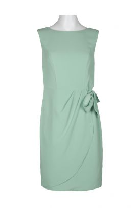 Adrianna Papell Boat Neck Sleeveless Tie Side Zipper Back Solid Polyester Dress