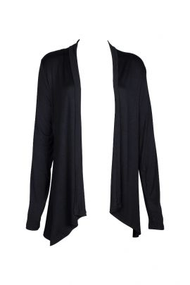 Anne Rose Open Front Long Sleeve Embroidered Back Jersey Jacket