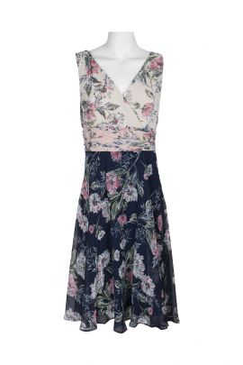 Connected Apparel V-Neck Sleeveless Ruched Waist Floral Print Chiffon Dress