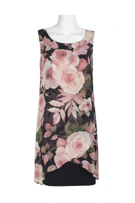 Connected Apparel Scoop Neck Sleeveless Tiered Floral Print Chiffon Dress