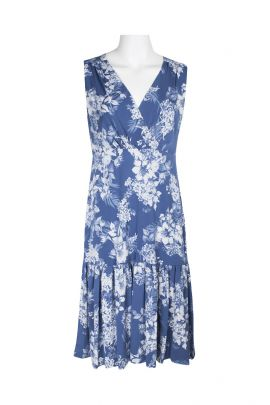 Connected Apparel V-Neck Sleeveless Ruched Floral Print Fit & Flare ITY Dress