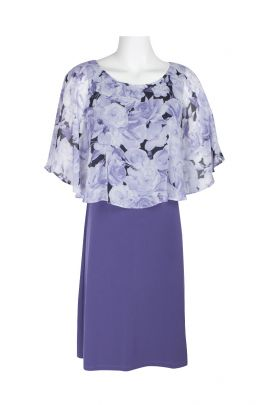 Connected Apparel Boat Neck Floral Print Chiffon Cape Shift ITY Dress